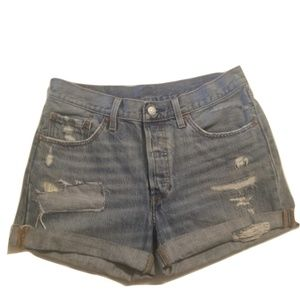 Levi's 501 Distressed Shorts Classic Rolled Up W28